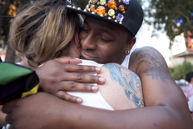"Frederick McGriff hugs Jennifer McHugh, one of the organizer's of the ""We Stand for Orlando"" march on Monday, June 20, 2016, at the Las Vegas Strip. Loren Townsley/Las Vegas Review-Journal Follow  ..."