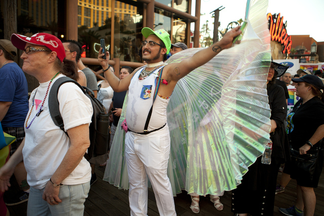 """Arty Huerta attends the """"We Stand for Orlando"""" march on Monday, June 20, 2016, at the Las Vegas Strip. Loren Townsley/Las Vegas Review-Journal Follow @lorentownsley"""