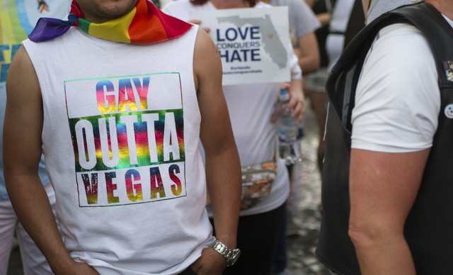 Marchers gather on the Las Vegas Strip to show their solidarity for the Pulse nightclub shooting victims in Orlando, Fla., in Las Vegas on Monday, June 20, 2016. Richard Brian/Las Vegas Review-Journal