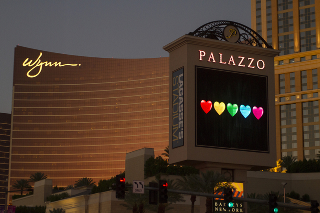 The Palazzo sign is seen on the Las Vegas Strip in Las Vegas on Monday, June 20, 2016. Richard Brian/Las Vegas Review-Journal