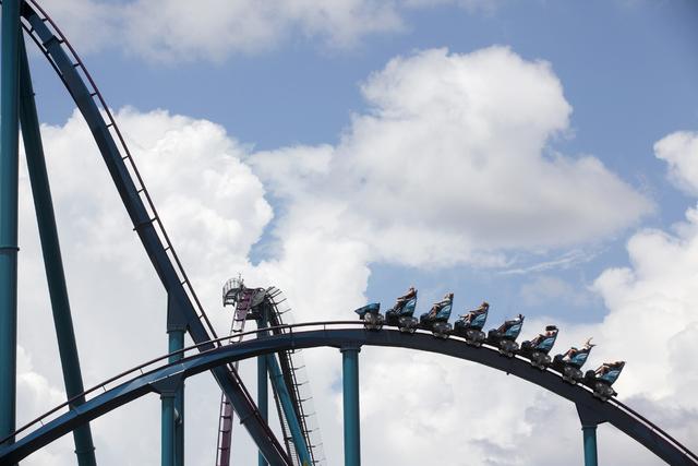 Tourists ride a roller coaster at Sea World in Orlando, Fla., on Thursday, June 16, 2016.  (Rachel Aston/Las Vegas Review-Journal) Follow @rookie__rae