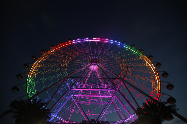The Eye of Orlando ride is seen onThursday, June 16, 2016, in Orlando, Fla. It is lit rainbow in honor of those killed at the gay nightclub Pulse on Sunday.  (Rachel Aston/Las Vegas Review-Journal ...