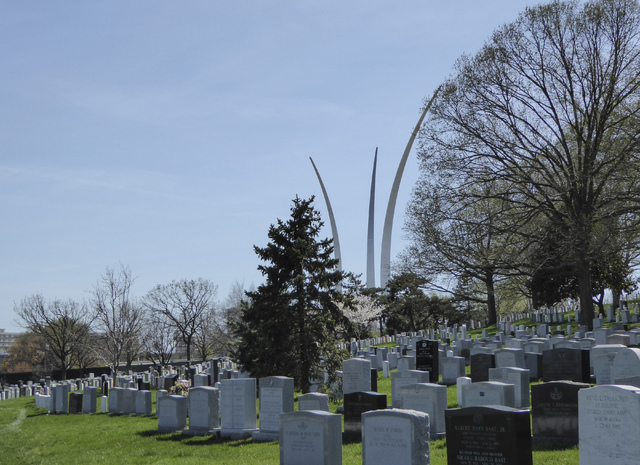 The Air Force Memorial, which opened in 2006, reaches toward the sky near Arlington National Cemetery in this photo taken March 30. Jane Ann Morrison/Las Vegas Review-Journal
