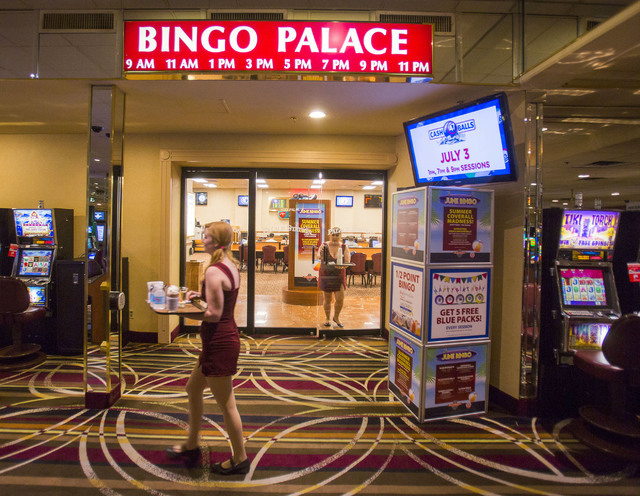 Cocktail waitresses walk by the Palace Station bingo room on Tuesday, June 28, 2016. The off Strip property, who is  celebrating its 40th anniversary this week, was called Bingo Palace. Jeff Schei ...