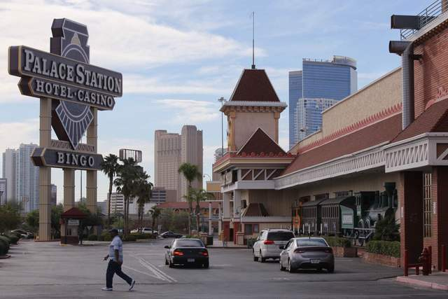 A pedestrian walks in the parking lot of the Palace Station in Las Vegas.(Brett Le Blanc/Las Vegas Review-Journal Follow @bleblancphoto)