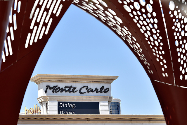 The Monte Carlo hotel-casino marque is seen Friday, June 3, 2016, in Las Vegas. MGM Resorts International announced the Monte Carlo will be transformed into two hotels -- the Park MGM and the NoMa ...