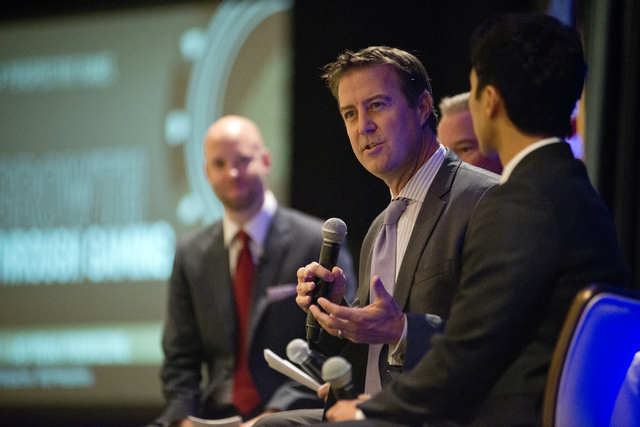 Executive Director of the UNLV International Gaming Institute, Bo Bernard, speaks during the annual Las Vegas Global Economic Alliance breakfast at the Four Seasons Hotel on the Las Vegas Strip on ...