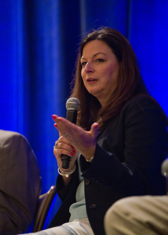Senior Vice President of Marketing for the Las Vegas Convention and Visitors Authority Cathy Tull speaks during the annual Las Vegas Global Economic Alliance breakfast at the Four Seasons Hotel on ...