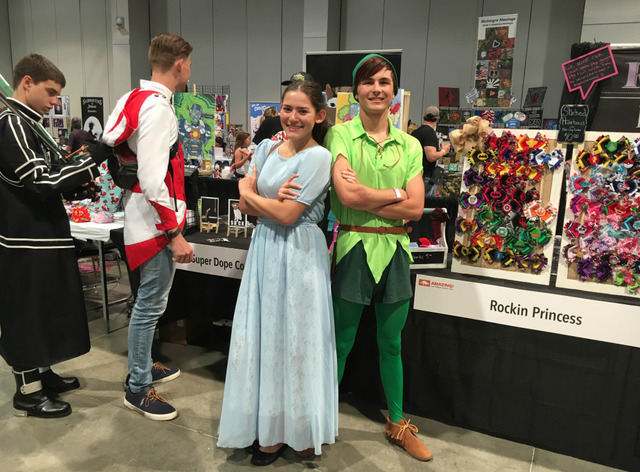 Jaden Taylor, 18, and Monique Martin, 18, cosplay as Disney's Peter Pan and Wendy Darling at the Amazing Las Vegas Comic Con on Saturday, June 18, 2016. (Ashley Casper/Las Vegas Review-Journal)