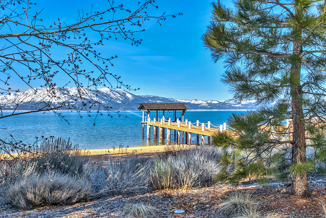 View of the mountains from Lake Tahoe home pier. (COURTESY)