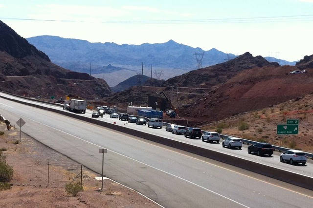 U.S. Highway 93 and state Route 172 were closed for five hours Tuesday after a woman threatened to jump from the O'Callaghan-Tillman Bridge near Hoover Dam. (Michael Quine/Las Vegas Review-Journal)
