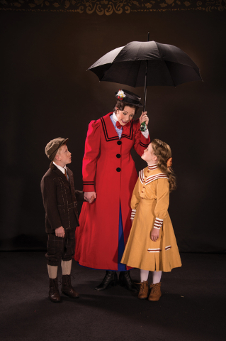 """The magical nanny Mary Poppins (Elizabeth Broadhurst) tends to new charges Michael (Andrew Barrick), left, and Jane Banks (Mila Belle Howells) in the Utah Shakespeare Festival's musical """"Mary Popp ..."""