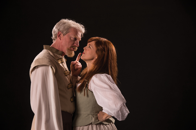 """Feuding Benedick (Ben Livingston) and Beatrice (Kim Martin-Cotten) discover they're fated to be mated in Shakespeare's """"Much Ado About Nothing"""" at the Utah Shakespeare Festival. (Karl Hugh/Utah Sh ..."""
