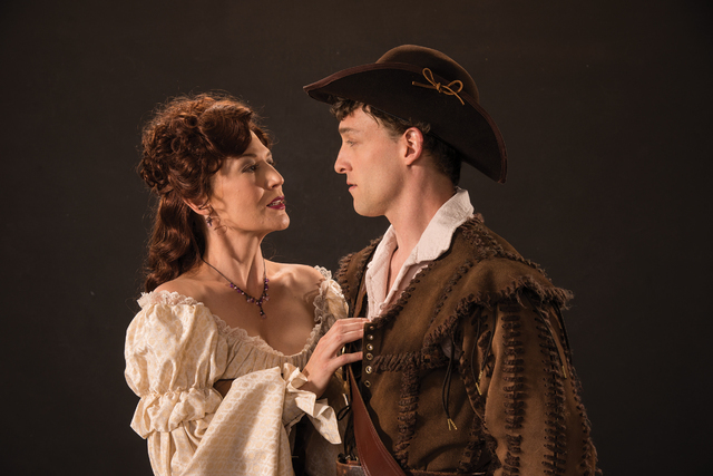"""The scheming Milady (Melinda Parrett) meets the dashing D'Artagnan (Luigi Sottile) in playwright Ken Ludwig's take on """"The Three Musketeers,"""" opening next week at the Utah Shakespeare Festival. (K ..."""