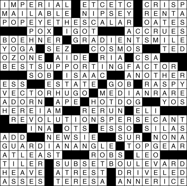 View's crossword puzzle solution for June 16, 2016. Click the image for the puzzle or for sudoku solution and puzzle.