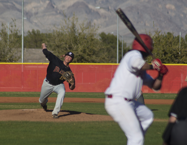 Faith Lutheran pitcher Zack Trageton (11) throws the ball during their game at Arbor View High School in North Las Vegas on Thursday, March 10, 2016. Faith Lutheran won the game 6-3. (Daniel Clark ...