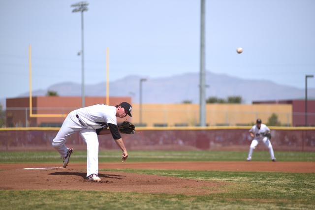 Faith Lutheran's Zack Trageton pitches against Canyon View (Utah) during their baseball game played at Faith Lutheran's Koerwitz Field in Las Vegas on Saturday, March 19, 2016. Faith Lutheran defe ...