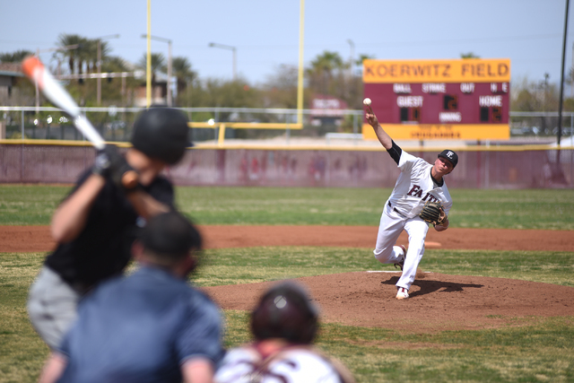 Faith Lutheran's Zach Trageton, who was selected in the sixth round of the Major League Baseball first-year player draft by the Tampa Bay Rays on Friday, pitches against Canyon View (Utah) in a ba ...
