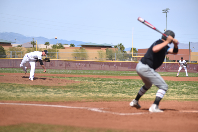 Faith Lutheran's Zack Trageton (11) pitches against Canyon View (Utah) during their baseball game played at Faith Lutheran's Koerwitz Field in Las Vegas on Saturday, March 19, 2016. Faith Lutheran ...