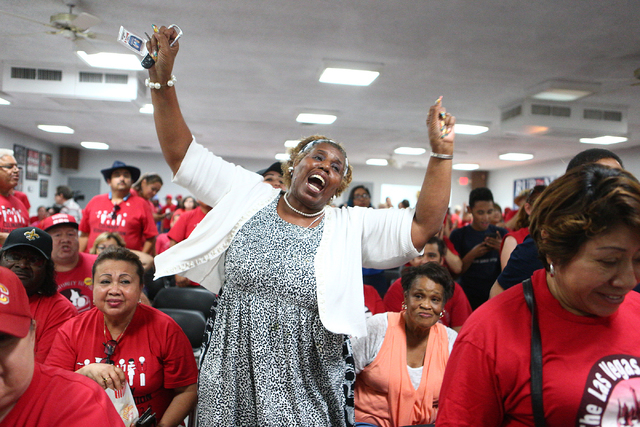 Loretta Harper cheers at the Democratic Congressional District 4 candidate Ruben Kihuen's election night watch party at Culinary Workers Union Local 226 in Las Vegas on Tuesday, June 14, 2016.Tues ...