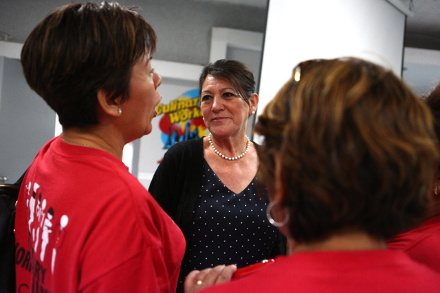 Blanca Kihuen, mother of Democratic Congressional District 4 candidate Ruben Kihuen speaks with supporters during election night watch party at Culinary Workers Union Local 226 in Las Vegas on Tue ...