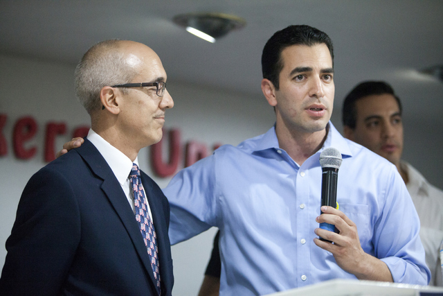 Democratic Congressional District 4 candidate Ruben Kihuen thanks Sen. Mo Dennis during his election night watch party at Culinary Workers Union Local 226 in Las Vegas on Tuesday, June 14, 2016. ( ...
