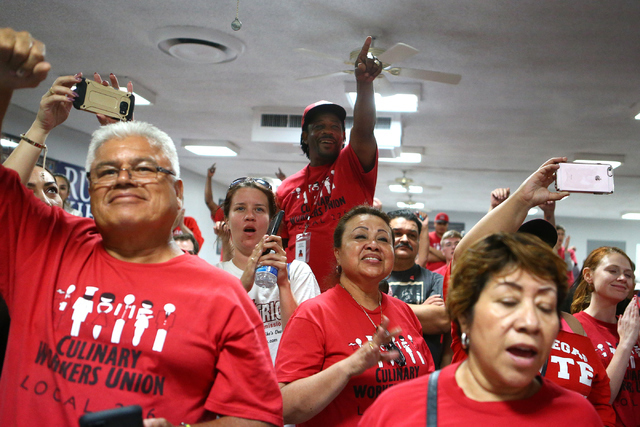 Audience members cheer during Democratic Congressional District 4 candidate Ruben Kihuen's election night watch party at Culinary Workers Union Local 226 in Las Vegas on Tuesday, June 14, 2016. (L ...