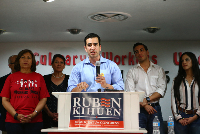 Democratic Congressional District 4 candidate Ruben Kihuen speaks during his election night watch party at Culinary Workers Union Local 226 in Las Vegas on Tuesday, June 14, 2016. Loren Townsley/L ...