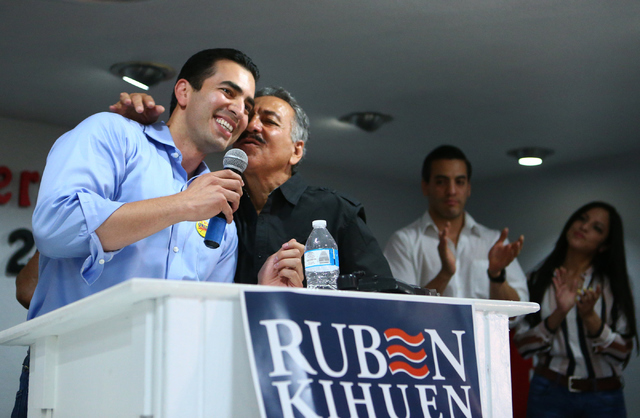 Democratic Congressional District 4 candidate Ruben Kihuen thanks his father, Armando Kihuen during his election night watch party at Culinary Workers Union Local 226 in Las Vegas on Tuesday, June ...