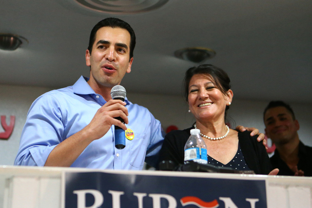 Democratic Congressional District 4 candidate Ruben Kihuen thanks his mother, Blanca Kihuen during his election night watch party at Culinary Workers Union Local 226 in Las Vegas on Tuesday, June  ...