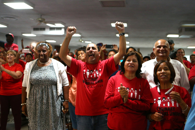 Audience members cheer during emocratic Congressional District 4 candidate Ruben Kihuen's election night watch party at Culinary Workers Union Local 226 in Las Vegas on Tuesday, June 14, 2016. (Lo ...