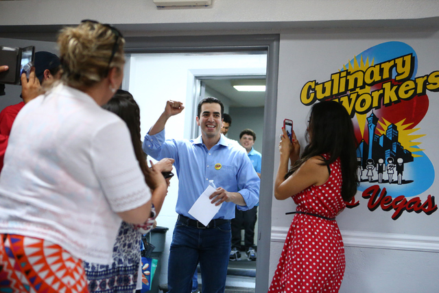 Democratic Congressional District 4 candidate Ruben Kihuen celebrates during his election night watch party at Culinary Workers Union Local 226 in Las Vegas on Tuesday, June 14, 2016. (Loren Towns ...
