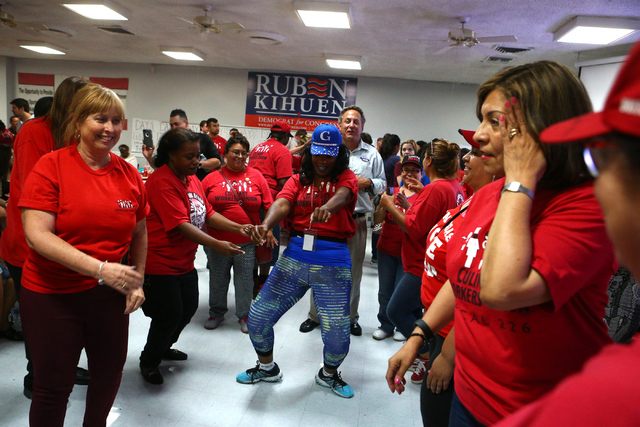 Diana Thomas dances during Democratic Congressional District 4 candidate Ruben Kihuen's election night watch party at Culinary Workers Union Local 226 in Las Vegas on Tuesday, June 14, 2016.Tuesda ...