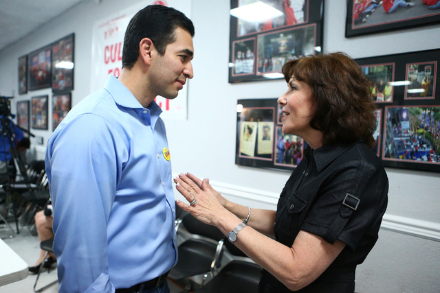 Democratic Congressional District 4 candidate Ruben Kihuen talks, left, with Democratic Congressional District 3 candidate Jacky Rosen during his election night watch party at Culinary Workers Uni ...