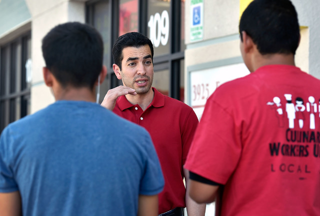 Democratic congressional candidate Ruben Kihuen, center, speaks with volunteers at a campaign office Tuesday, June 14, 2016, in Las Vegas. David Becker/Las Vegas Review-Journal Follow @davidjaybecker