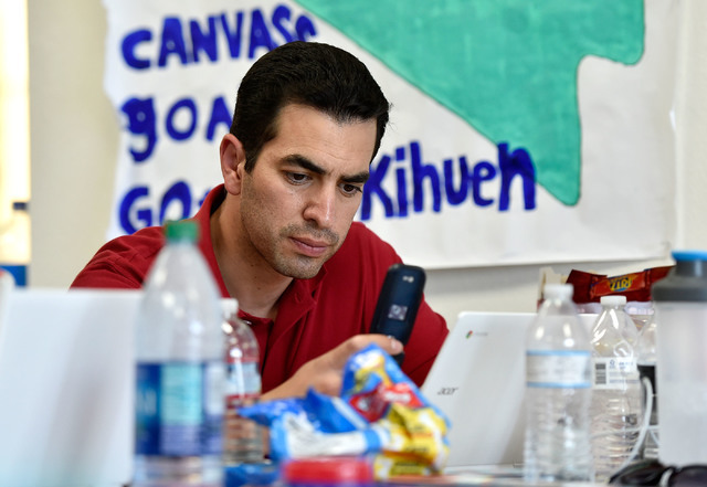 Democratic congressional candidate Ruben Kihuen makes a phone call from his campaign office Tuesday, June 14, 2016, in Las Vegas. David Becker/Las Vegas Review-Journal Follow @davidjaybecker