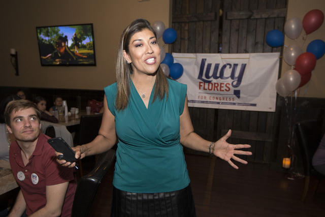 Democratic Congressional District 4 candidate Lucy Flores  speaks to supporters during her election night party at Aces & Ales on Tuesday, June 14, 2016, in Las Vegas. Erik Verduzco/Las Vegas  ...