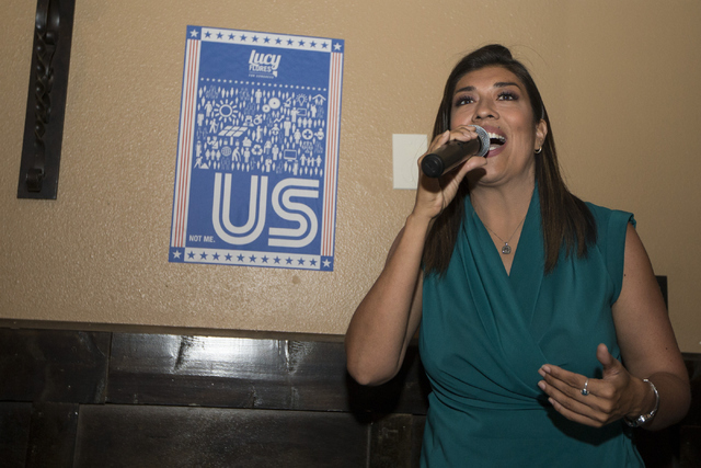 Democratic Congressional District 4 candidate Lucy Flores  gives her concession speech during her election night party at Aces & Ales on Tuesday, June 14, 2016, in Las Vegas. Erik Verduzco/Las ...