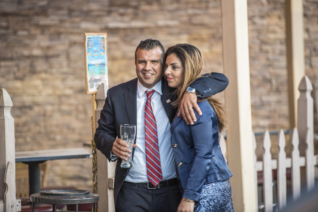 Democratic Congressional District 3 candidate Jesse Sbaih hugs his wife Sameera during a a campaign event at Origin India Restaurant in Las Vegas on Tuesday, June 14, 2016. Joshua Dahl/Las Vegas R ...