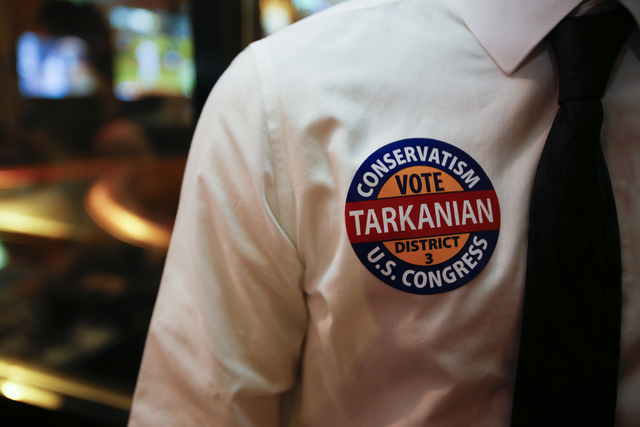 A supporter of Republican Congressional District 3 candidate Danny Tarkanian during his election night gathering at Born and Raised in Las Vegas on Tuesday, June 14, 2016. (Richard Brian/Las Vegas ...