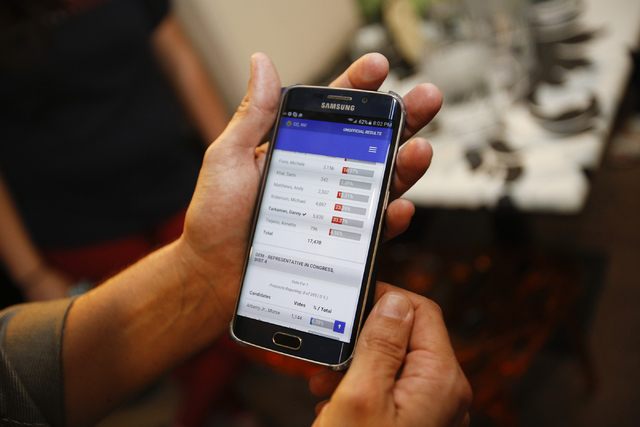 Poll results are seen on a phone at Republican Congressional District 3 candidate Danny Tarkanian's election night gathering at Born and Raised in Las Vegas on Tuesday, June 14, 2016. (Richard Bri ...