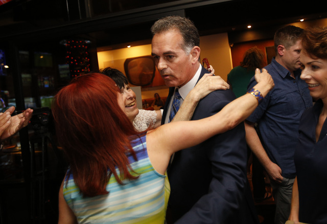 Republican Congressional District 3 candidate Danny Tarkanian meets with supporters during his election night gathering at Born and Raised in Las Vegas on Tuesday, June 14, 2016. (Richard Brian/La ...