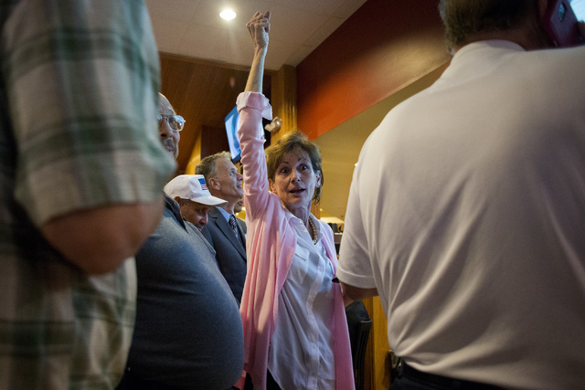 Laurel Fee, a political consultant for Nevada Assemblyman Brent Jones, reacts to a announcement during a watch party at Old School Brewing Company in Las Vegas on June 14, 2016. (Bridget Bennett/L ...
