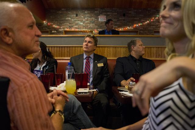 Nevada Assemblyman Brent Jones, R-Las Vegas, watches result updates during a watch party at Old School Brewing Company in Las Vegas on June 14, 2016. (Bridget Bennett/Las Vegas Review-Journal) Fol ...