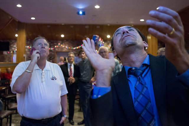 Jeramy Edgel cheers, watching results as Assemblyman Brent Jones, R-Las Vegas, gains a few points during a watch party at Old School Brewing Company in Las Vegas on June 14, 2016. (Bridget Bennett ...