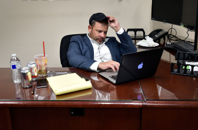 Nevada Assembly Majority Leader Paul Anderson watches election returns on his computer during a watch party at his office Tuesday, June 14, 2016, in Las Vegas. David Becker/Las Vegas Review-Journa ...