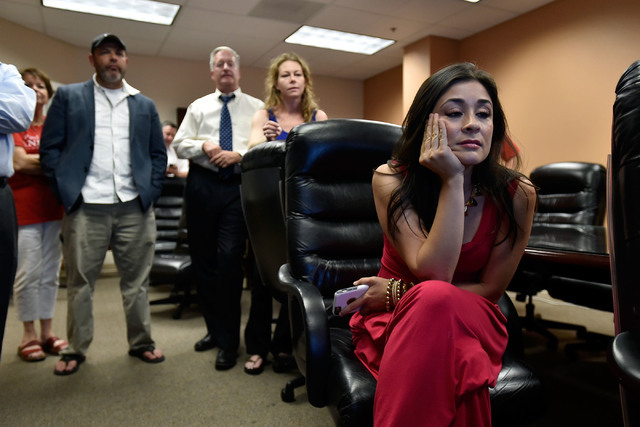 Tiffany Jones watches election returns during a watch party at Paul Anderson's office Tuesday, June 14, 2016, in Las Vegas. David Becker/Las Vegas Review-Journal Follow @davidjaybecker