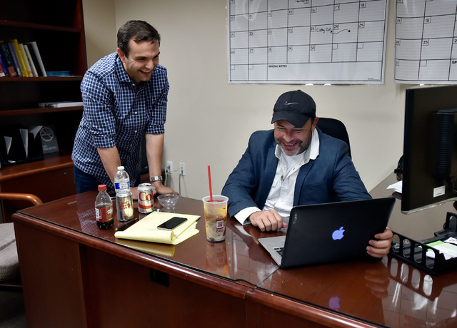 Derek Armstrong, left, and Nevada Assembly Majority Leader Paul Anderson watch election returns during a watch party at Anderson's office Tuesday, June 14, 2016, in Las Vegas. David Becker/Las Veg ...