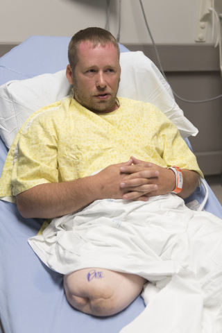 Anthony Reff prepares for his osseointegration surgery at Centennial Hills Hospital in Las Vegas Friday, June 3, 2016. Reff came in from Breckenridge, Minn. for the surgery.( Jason Ogulnik/Las Veg ...