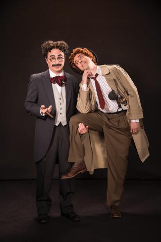 "Mr. Hammer, alias Groucho Marx (John Plumpis) and Silent Red, alias Harpo (Tasso Feldman) shake up 1920s Florida in the musical ""The Cocoanuts,"" part of the 2016 Utah Shakespeare Festival. (Karl H ..."